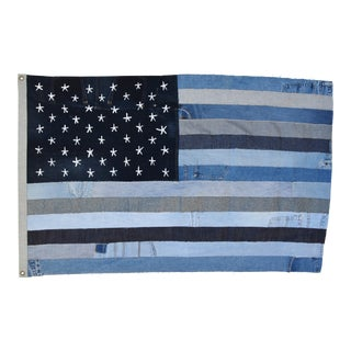 "Custom Ralph Lauren Style Denim Patchwork American Flag Art Throw 58"" X 37"" For Sale"