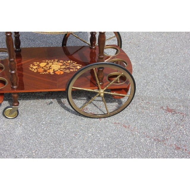 1950s French Marquetry Drop Leaf Bar Cart For Sale - Image 10 of 13