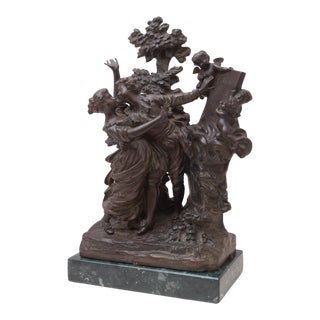 The Kiss' by Georges Flamand, Two Lovers Embracing, Bronze Figural Group After Fragonard For Sale
