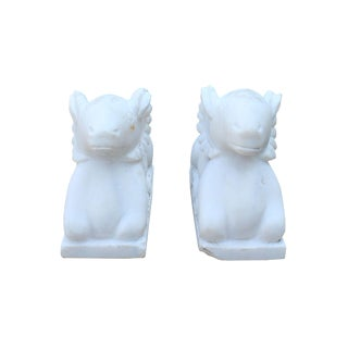 Chinese Vintage Look Dirt White Crouching Ram Stone Statues - a Pair For Sale