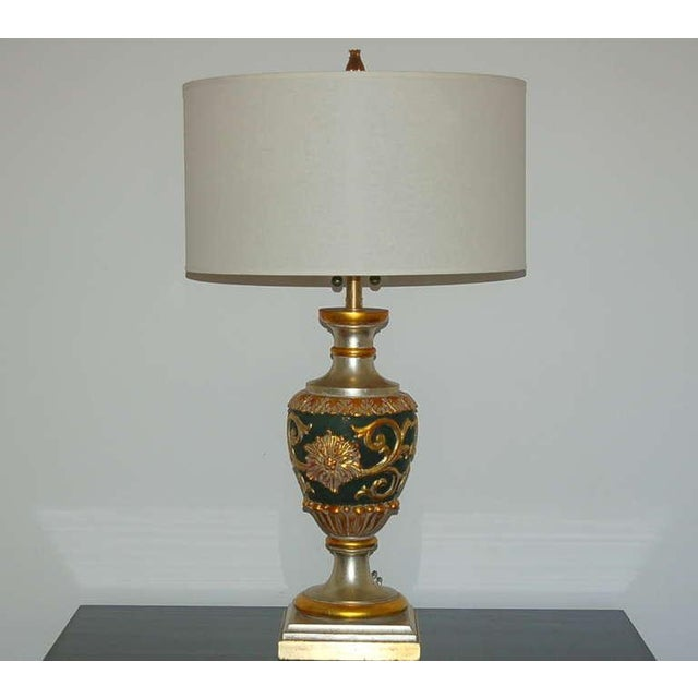 Italian Marbro Italian Wood Table Lamps Black Gold For Sale - Image 3 of 10