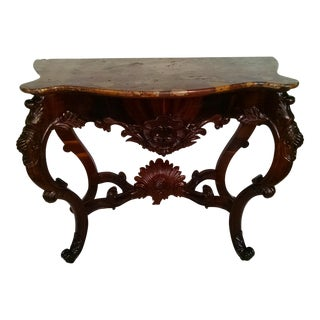 Italian Rosewood Console With Marble Top