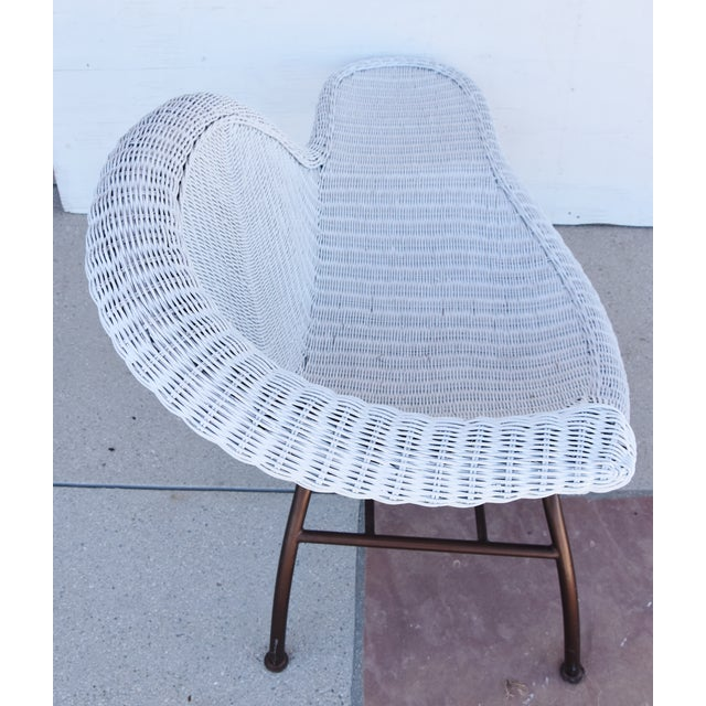 Vintage Modernistic Asymmetric Woven Wicker Chaise Lounge For Sale - Image 4 of 13