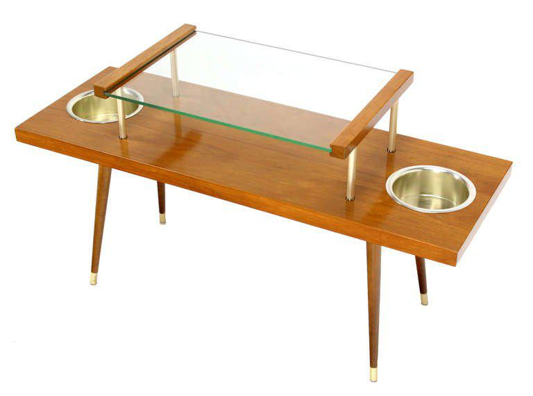 Mid Century Modern Walnut And Glass Top Console Table With Planters For  Sale