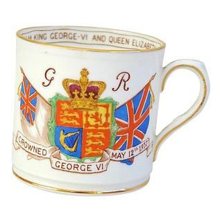 Circa 1937 George VI & Elizabeth English Coronation Collectors Mug Cup For Sale