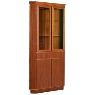 Danish Modern Teak Lighted Curio Display Corner Cabinet by Skovby, Circa 1970s For Sale