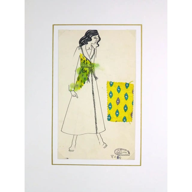 Vintage Paris Fashion Drawing - Yellow Coat, C. 1980 For Sale - Image 4 of 7
