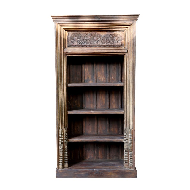 Architectural Four Tiered Carved Bookshelf - Image 1 of 2