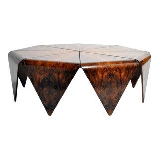 Hungarian Walnut Veneer Octagonal Coffee Table For Sale