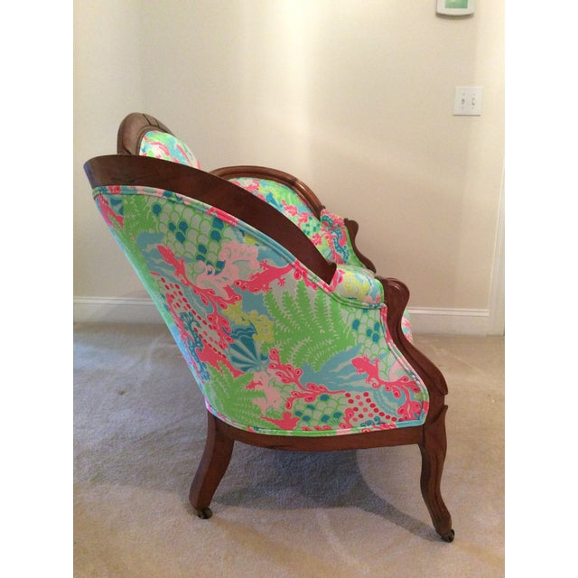 Lilly Pulitzer Refurbished Antique Settee/Sofa - Image 6 of 7