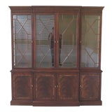 Image of Stickley 4 Door Flame Mahogany Front Breakfront China Cabinet For Sale