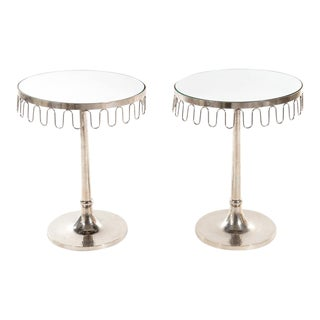 Pair of Mirrored Tables For Sale