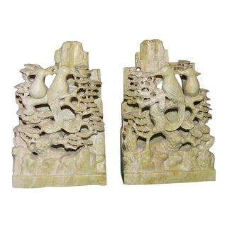 Chinese Stone Bird Statues or Bookends - a Pair For Sale