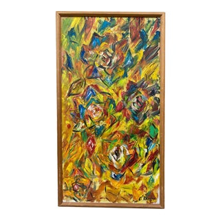 """1967 """"Impression"""" Abstract Floral Painting by Charles Radoff, Framed For Sale"""