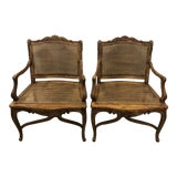 Image of 1970s Vintage Regence Cane French Carved Arm Chairs- a Pair For Sale