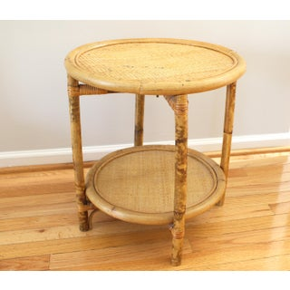 Vintage Asian Antique Bamboo Woven Round Side Table Preview