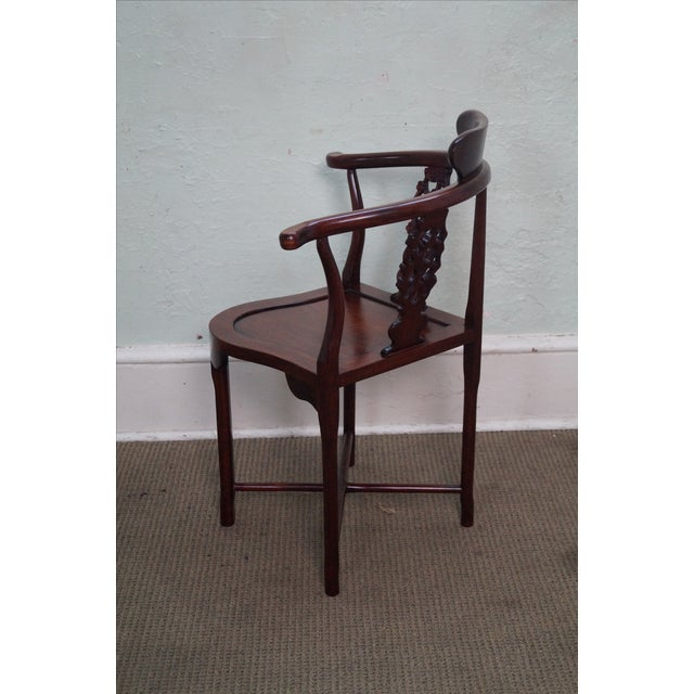 Chinese Rosewood Carved Corner Arm Chair - Image 3 of 10