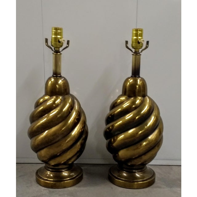 1970s Hollywood Regency Westwood Industries Brass Lamps- a Pair For Sale In Phoenix - Image 6 of 6