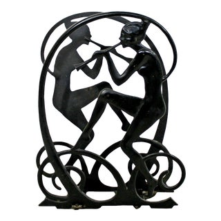 Art Deco Black Wrought Iron Nymphs Magazine Holder 1930s For Sale