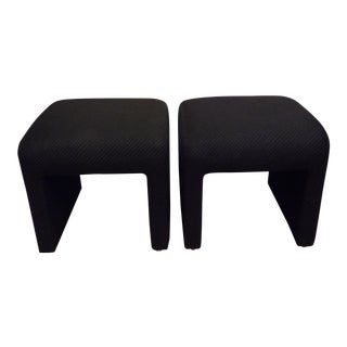 Directional Mid Century Modern Upholstered Waterfall Ottomans - a Pair For Sale