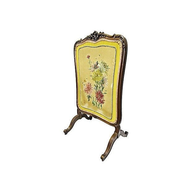 A beautiful Louis XV style French decorative fire screen in walnut-excellent condition and just the thing to cover your...