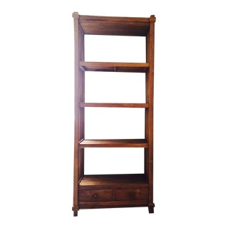Indonesian Teak Wood Bookshelf For Sale