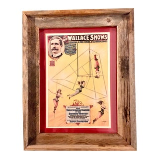 1898 Wallace Acrobat Circus Poster in Frame For Sale