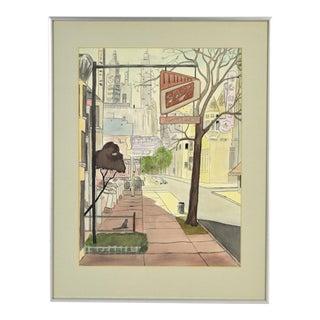 1950's Watercolor Painting Chicago Street Scene Tavern & Armando's Restaurant For Sale