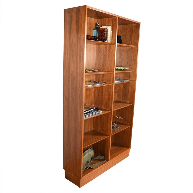 Danish Walnut 42″ Tall Bookcase W/ Adjustable Shelves For Sale In Washington DC - Image 6 of 9