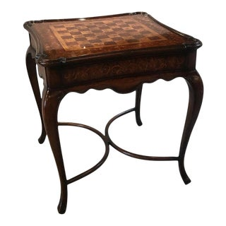 20th Century Walnut Game Table With Exotic Wood Inlay For Sale