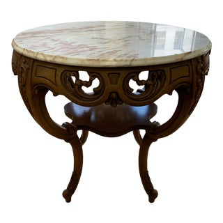 Early-20th Century + European Marble + Oak Side Table For Sale