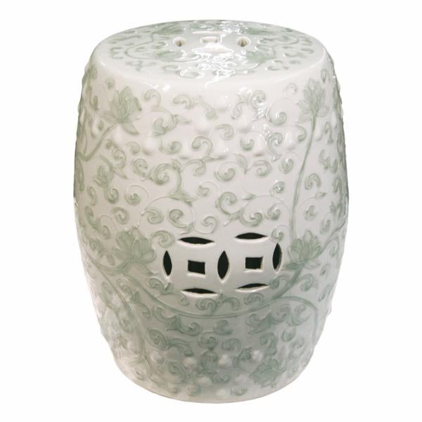 2010s Chinese Twisted Lotus Motif Celadon Garden Stool For Sale - Image 5 of 5