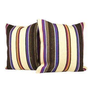 Turkish Bohemian Handwoven Multi-Colored Pillows - Set of 2 For Sale