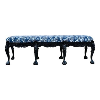 Antique Eight Leg Carved Mahogany Bench For Sale