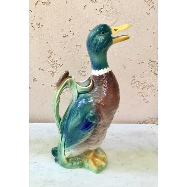 Majolica Duck Pitcher Saint Clement Circa 1900 For Sale - Image 4 of 7