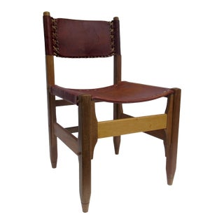 C.1960s Tanned Saddle Leather & Teak Lounge/Side Chair Designed by Biermann Werner for Arte Sano For Sale