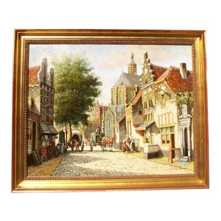 Vintage Mid-Century Old Amsterdam Painting For Sale