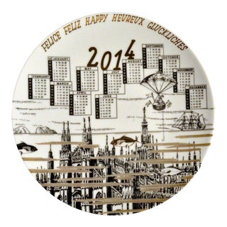 Barnaba Fornasetti Porcelain Calendar Plate 2014. Number 495 of 700 made, With Original Box.
