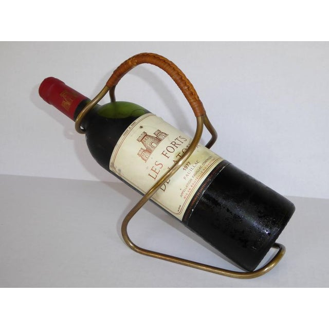 Carl Auboch Modern and Elegant 1950s Brass and Wicker Wine Server. Austria For Sale - Image 9 of 11