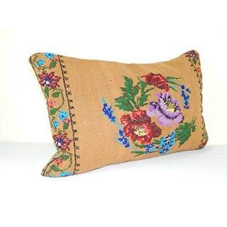 Vintage Handwoven Kilim Pillow, Lumbar Kilim Pillow French Decor Needlepoint Tapestry Aubusson Woven Kilim Rug Pillow Cover 16'' X 24'' (40 X 60 Cm) Preview