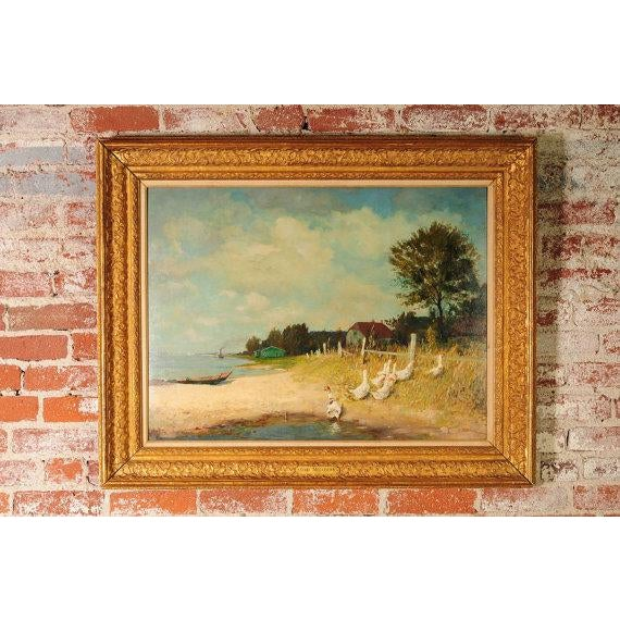 """Gari Melchers """"Belmont Lakeshore View"""" Oil Painting c.1920s frame size 30 x 38"""" board size 24 x 31"""" Oil painting on Board..."""