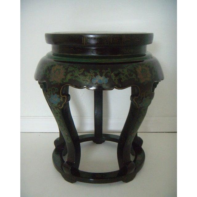 Antique Chinese Cloisonné & Black Lacquer Drum/Side Table - Image 2 of 6