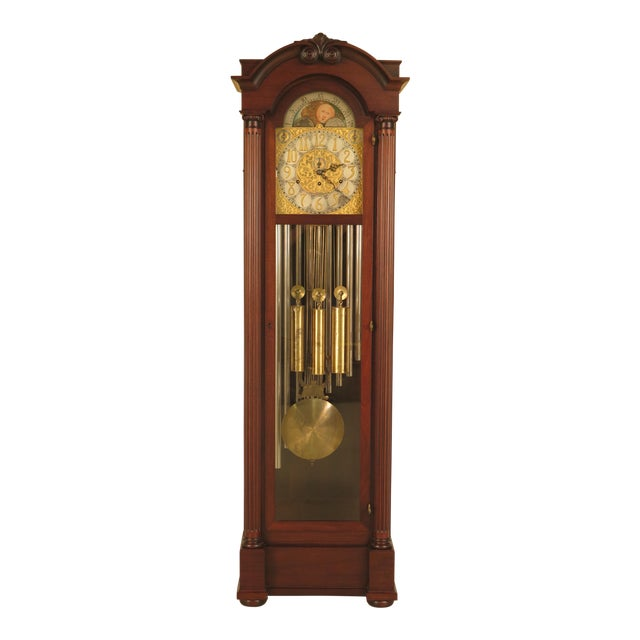 Vintage Jacques II Tube Mahogany Grandfather Clock For Sale