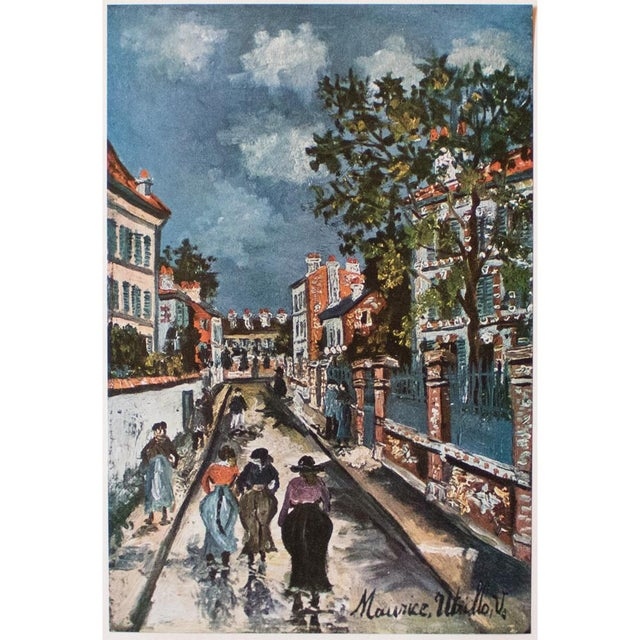 "A lovely vintage lithograph after painting, ""Street Scene"", by French artist Maurice Utrillo (1883-1955). Information..."
