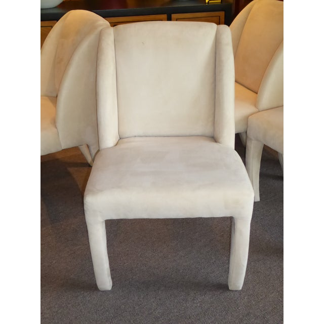 1980s 1980's Directional Scupltural Ultra Suede Modern Dining Chairs - Set of 4 For Sale - Image 5 of 13