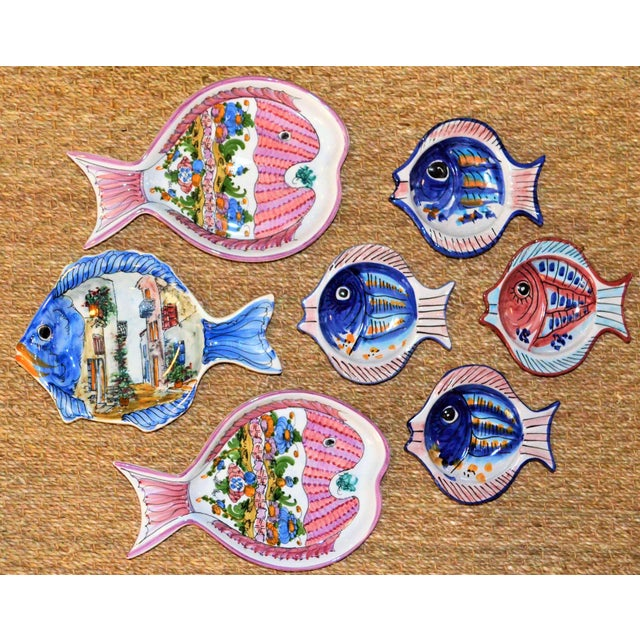 Vintage Collection of Mediterranean Pescado Majolica Dishes - Set of 7 For Sale In Houston - Image 6 of 6