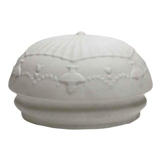 Antique Urn Cast Glass White Dish Globe For Sale