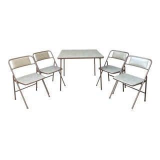 Vintage Cosco Mid Century Folding Card Table & 4 Chairs - 5 Pieces For Sale