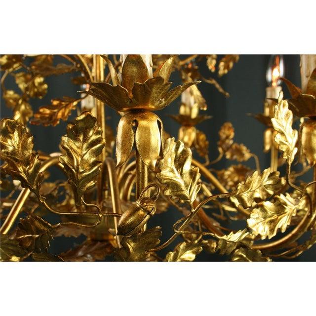 2010s Italian Golden Metal Chandelier For Sale - Image 5 of 8