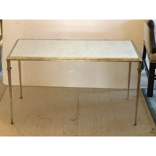 Brown Regency Lilian August for Drexel Heritage Silver Leaf and Antique Mirrored Coffee Table For Sale - Image 8 of 8